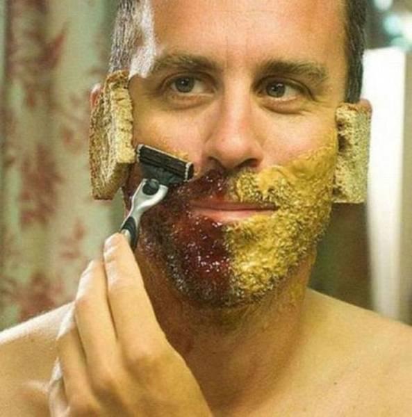 мужчина с бритвой