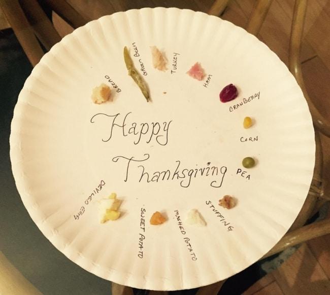 тарелка с кусочками еды