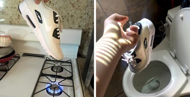 кроссовки над газовой плитой и унитазом
