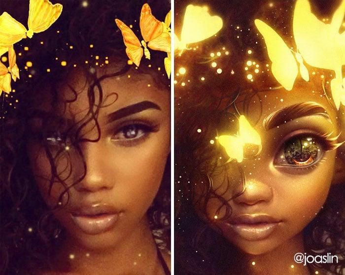 девушка с бабочками