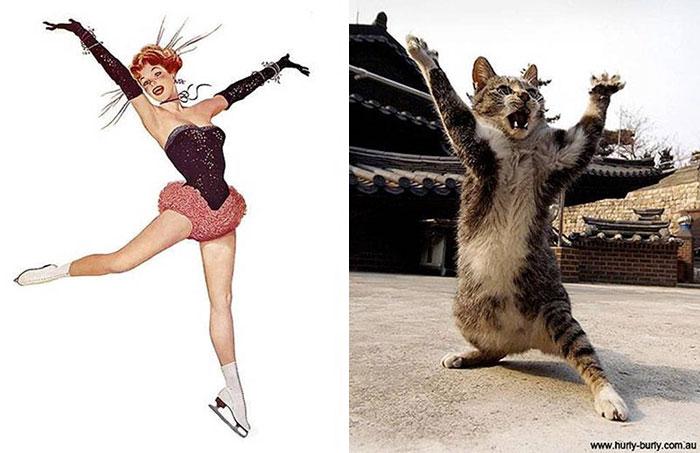 пин-ап девушка и кот на задних лапах