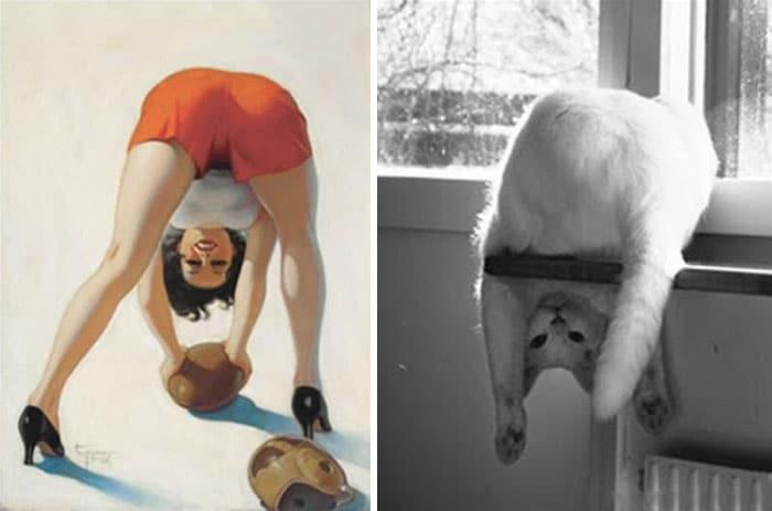 девушка пин-ап и белый кот