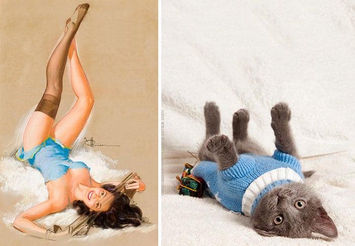 девушка пин-ап и серый котенок рис 2