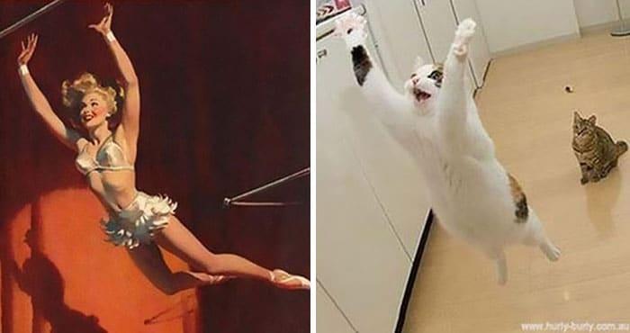 девушка пин-ап и кот в прыжке