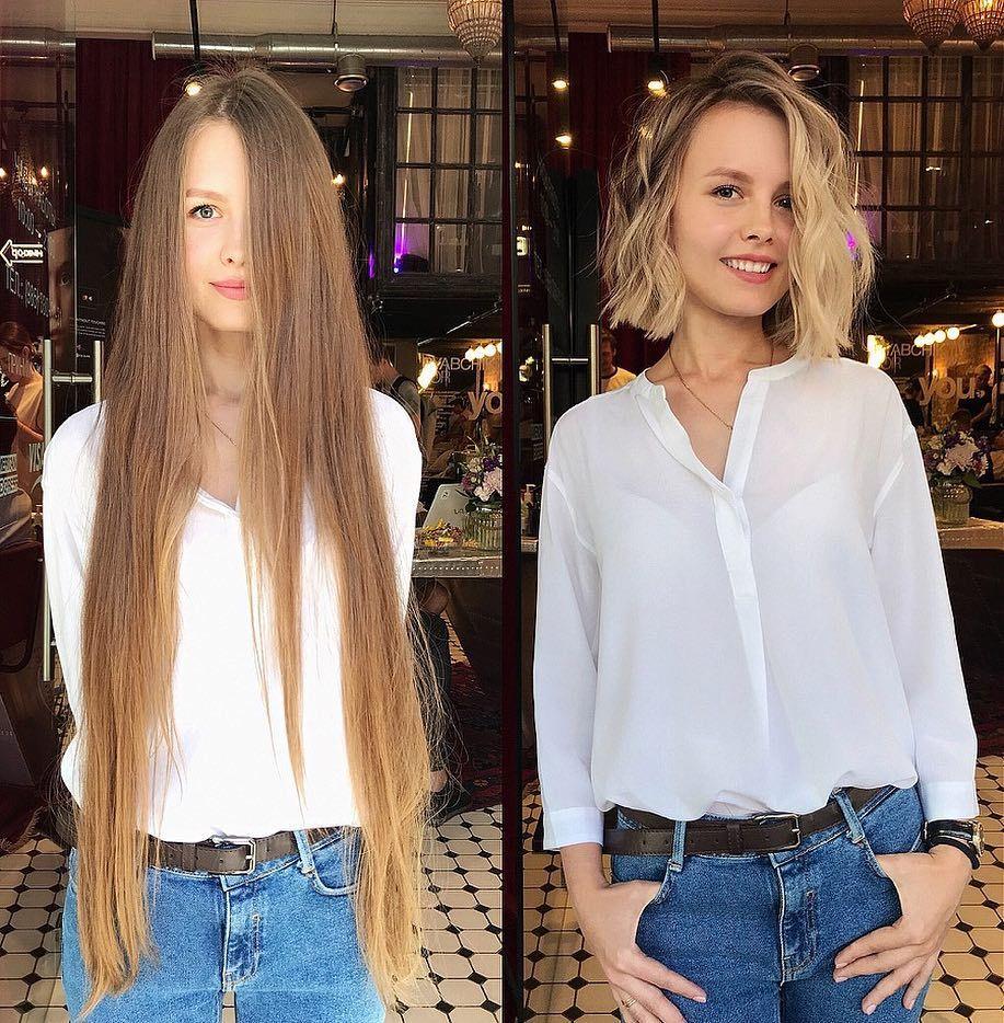 девушка после парикмахерской