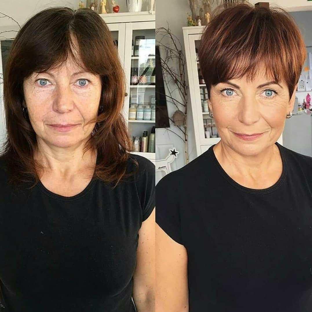 до и после стрижки волос