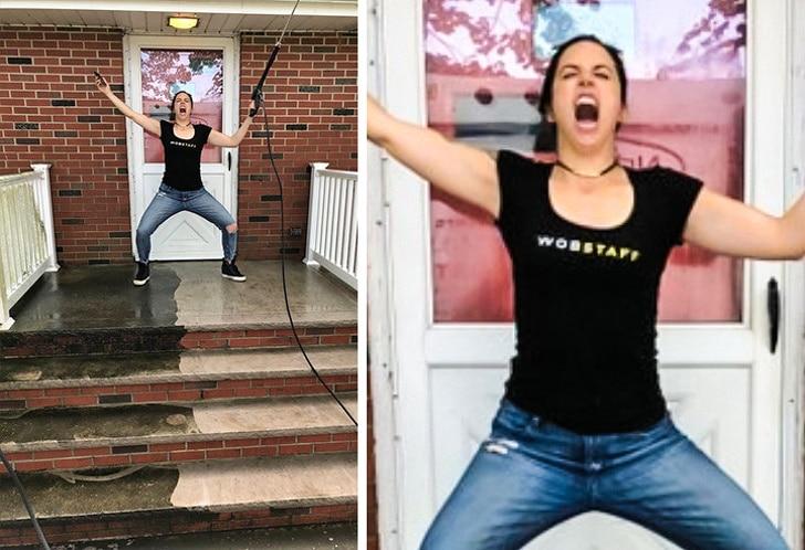 девушка кричит на пороге дома