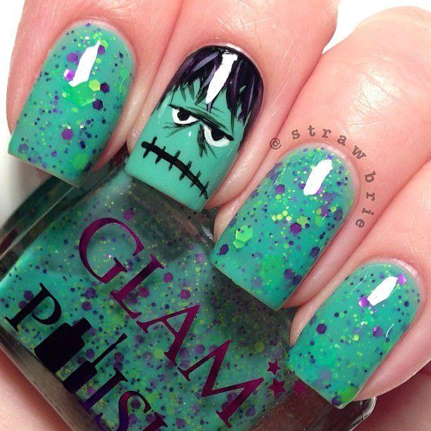 зеленые ногти с рисунком