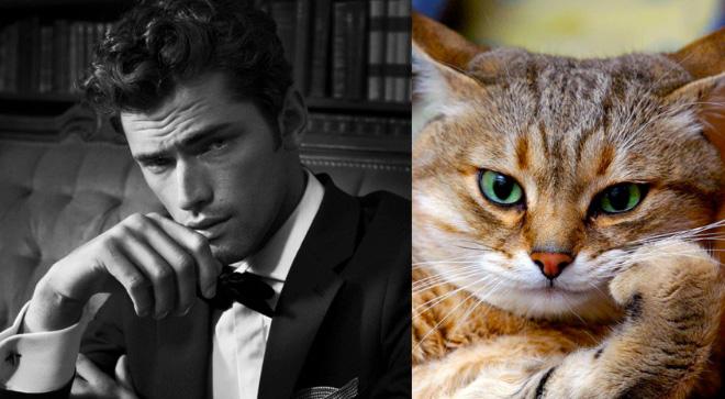 парень в костюме и кот