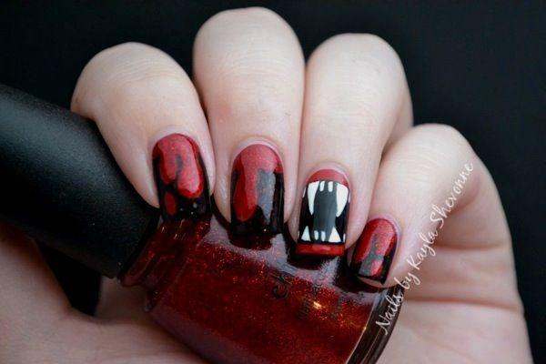 черно-красный лак на ногтях