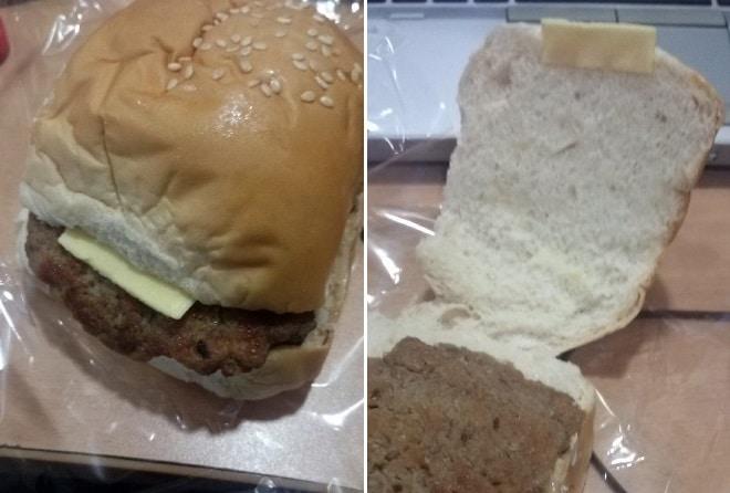 бургер с маленьким кусочком сыра