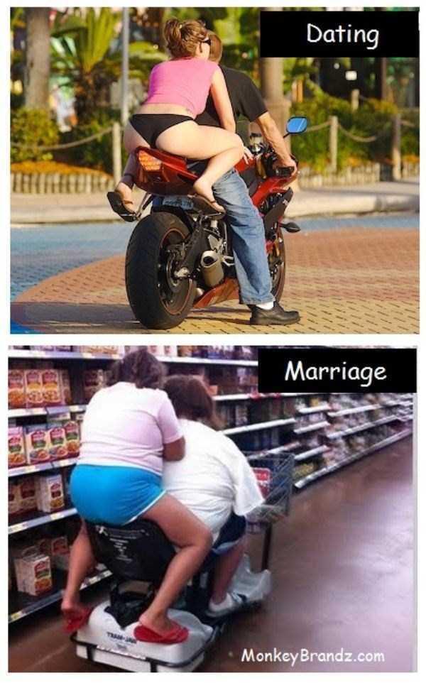 девушка на мотоцикле и женщина в супермаркете