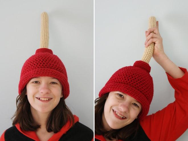 девушка в красной шапке