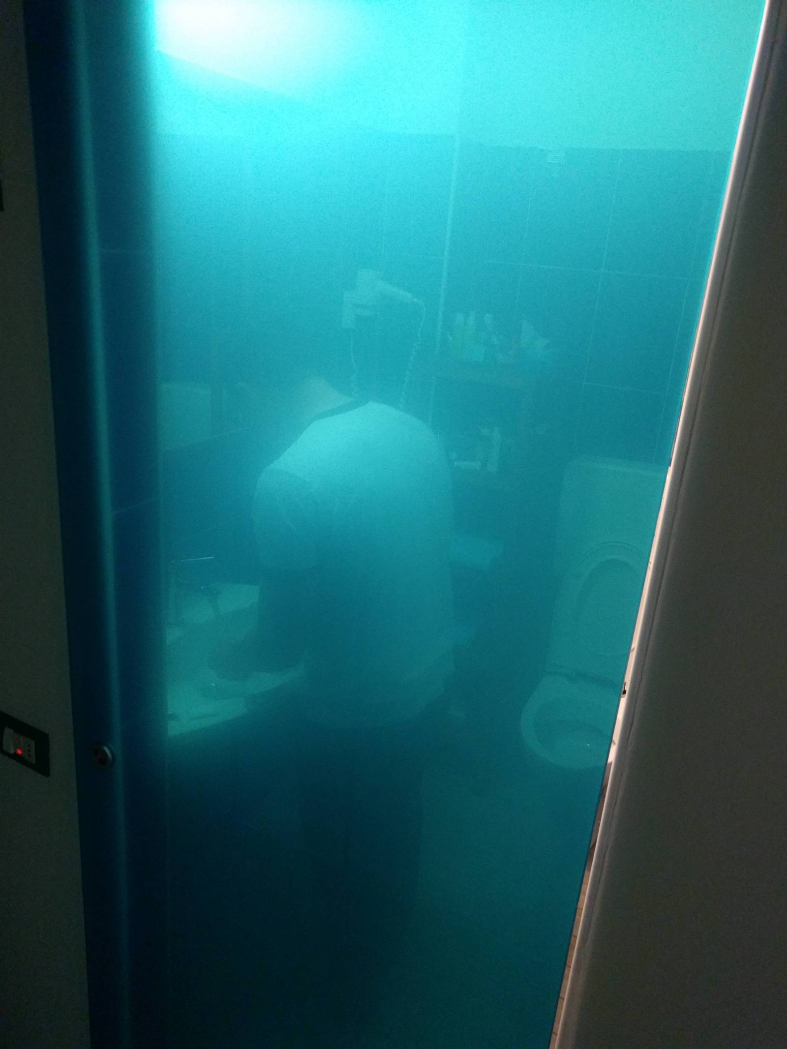 прозрачная дверь туалета в отеле