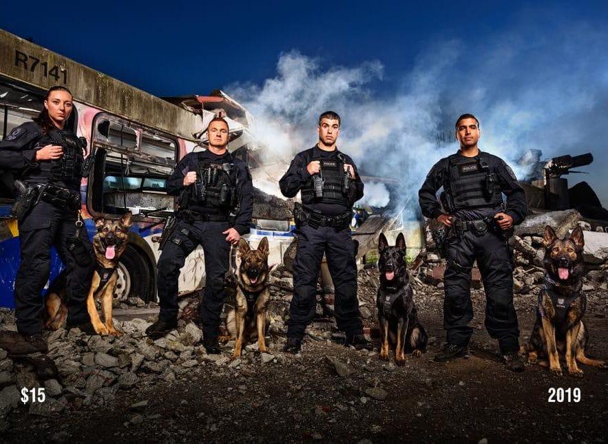 полицейские с собаками и дым