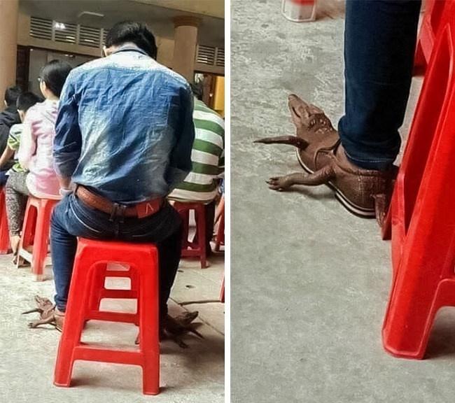 мужчина в туфлях-крокодилах