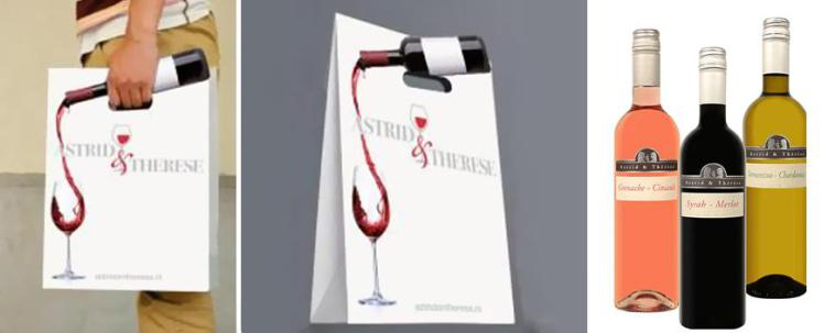 пакет с бутылкой вина на нем