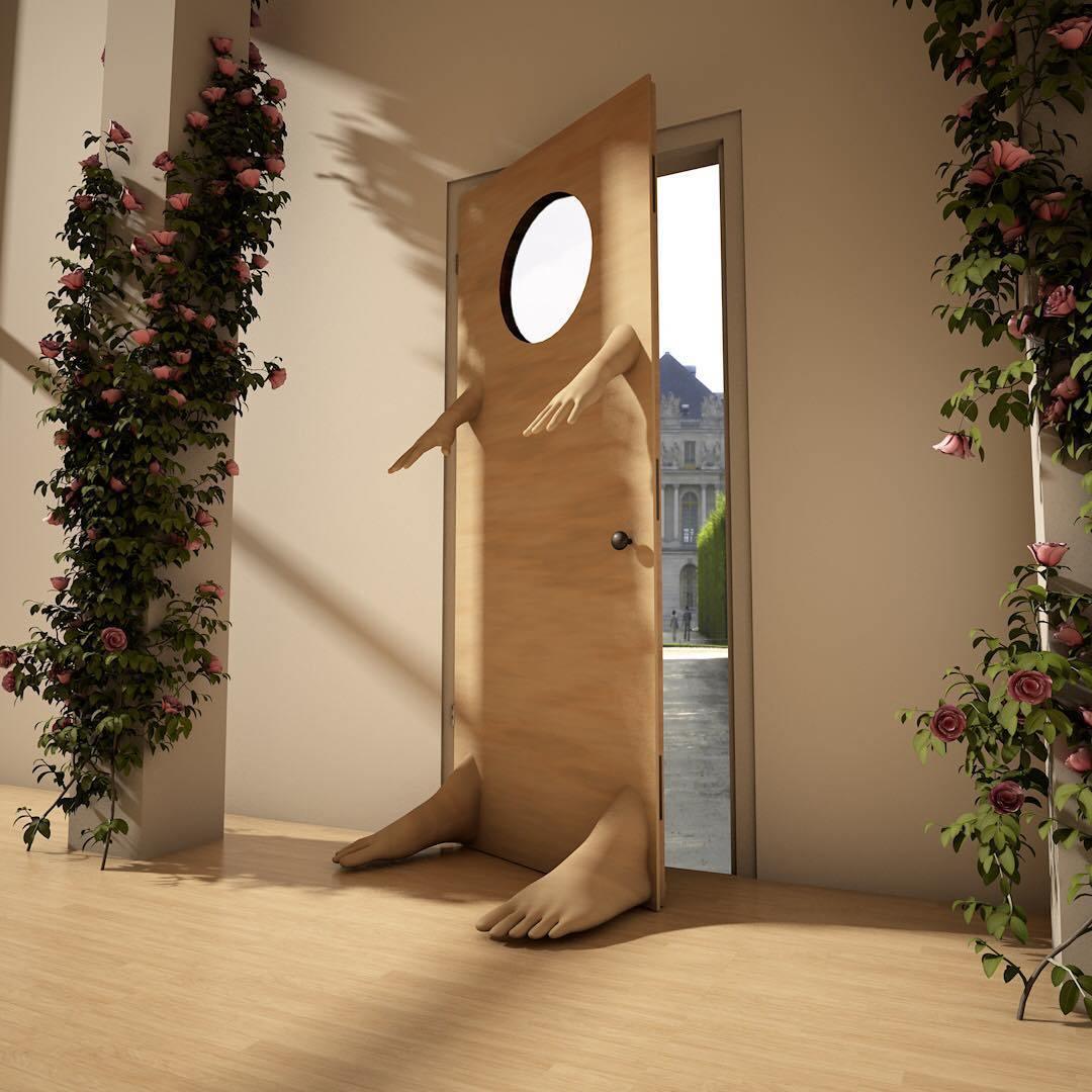 дверь с руками и ногами