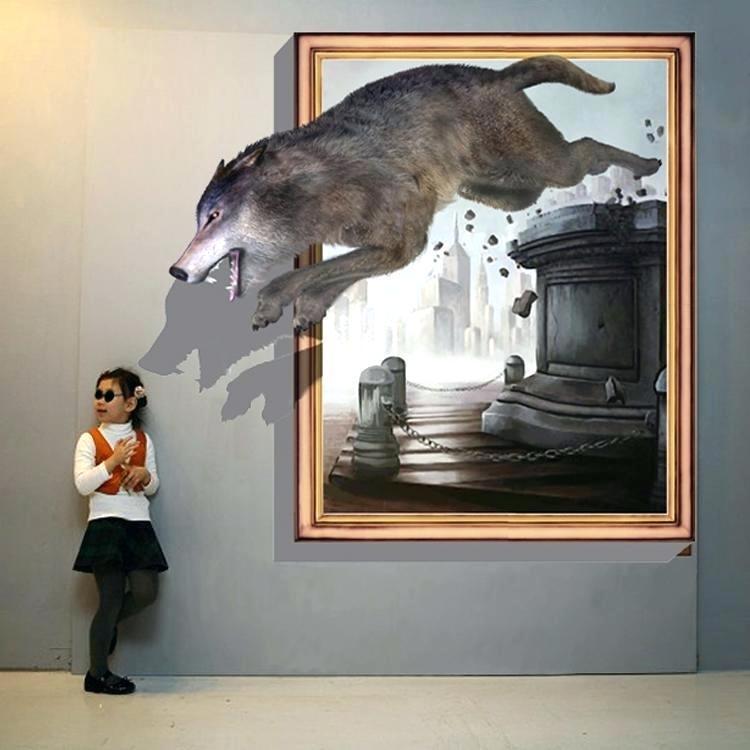 3D-рисунок волка