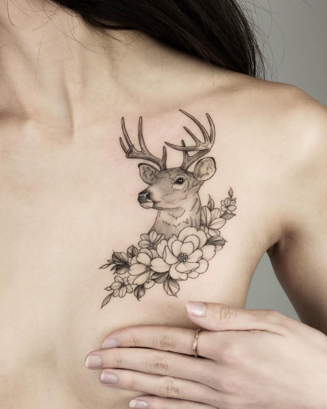 татуировка в виде оленя
