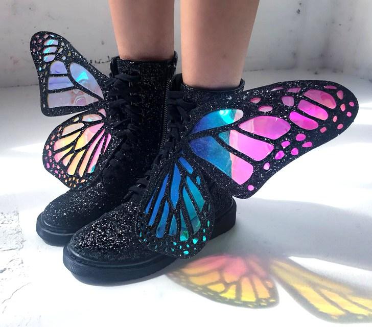 ботинки с крыльями бабочек