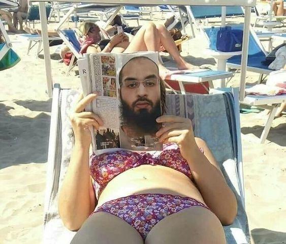 женщина с журналом на пляже
