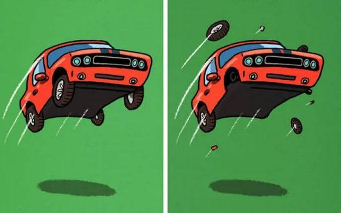 рисунок красной машины в воздухе