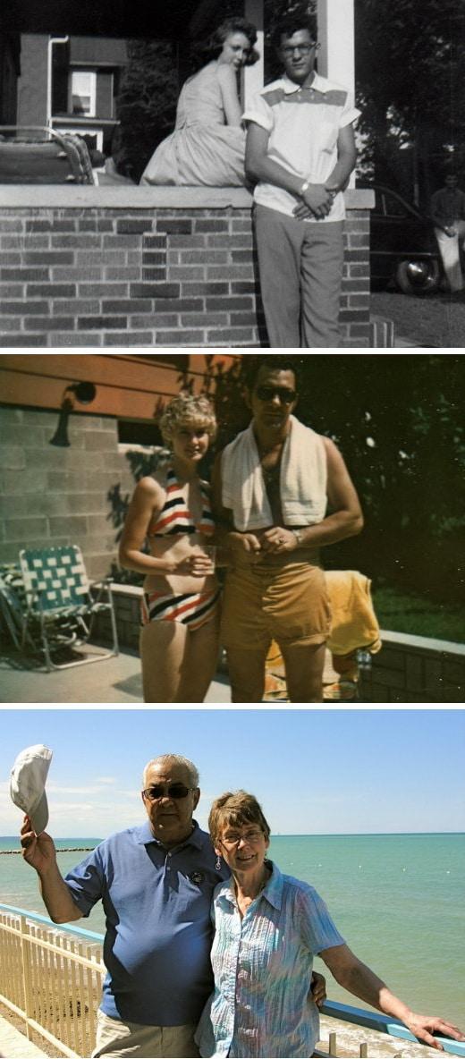 пара возле дома, пара в купальниках, пара на набережной