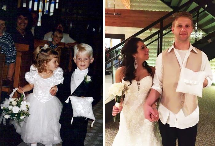 мальчик и девочка с подушкой и цветами и кольцами, парень с девушкой свадьба