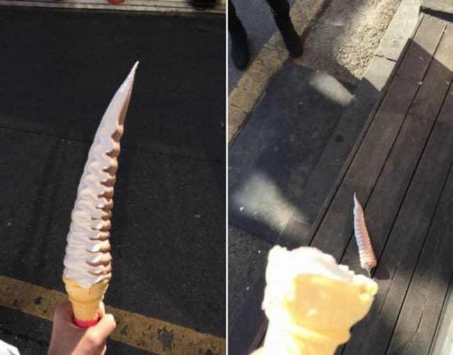 мороженое упало
