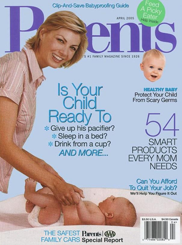 женщина с ребенком на обложке журнала