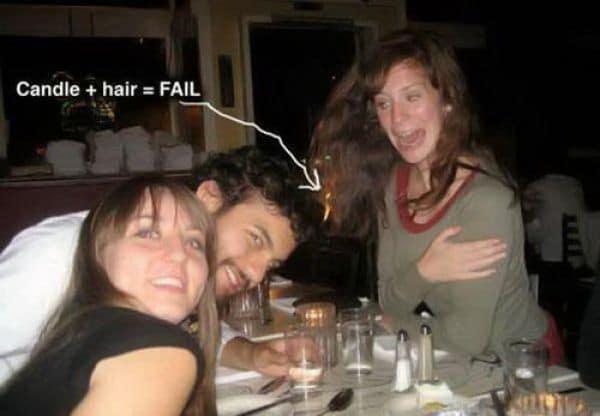 у девушки загорелись волосы