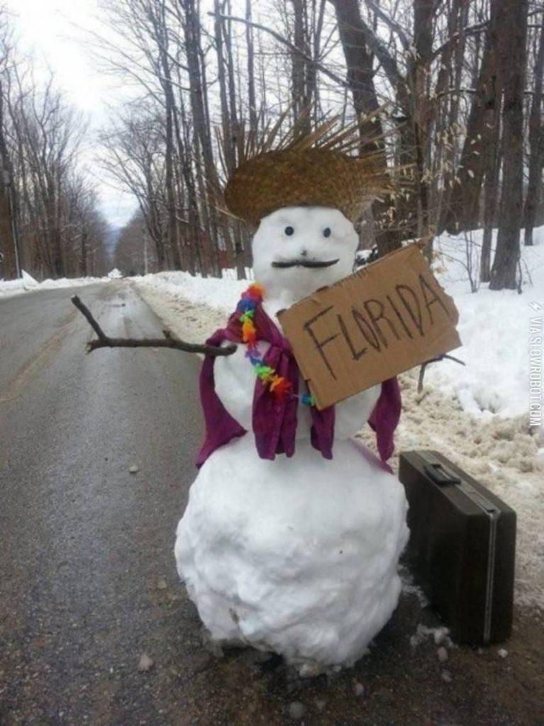 снеговик у дороги