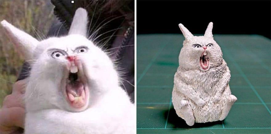 белый кролик и его фигурка