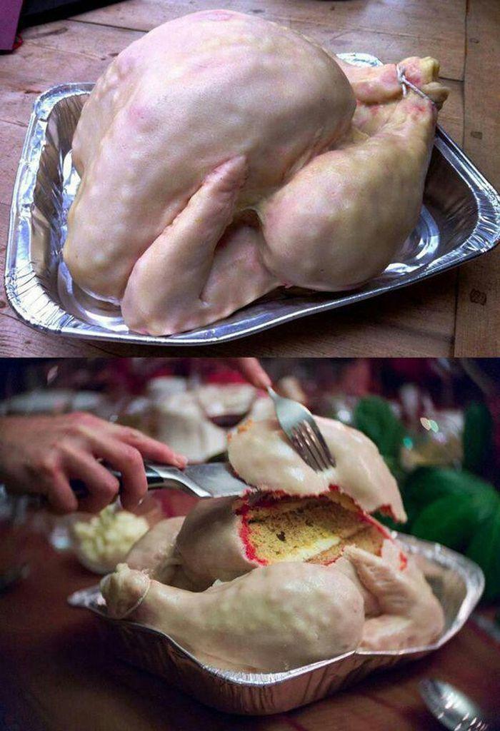 торт в виде сырой курицы