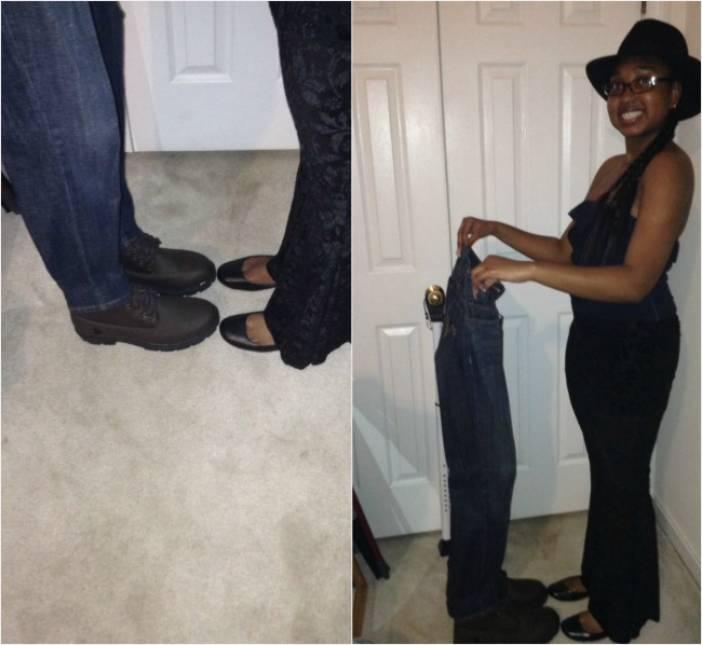 чернокожая девушка держит джинсы