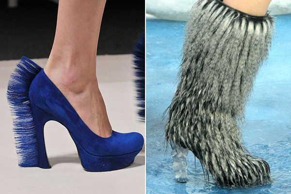 меховый сапог и синий туфель