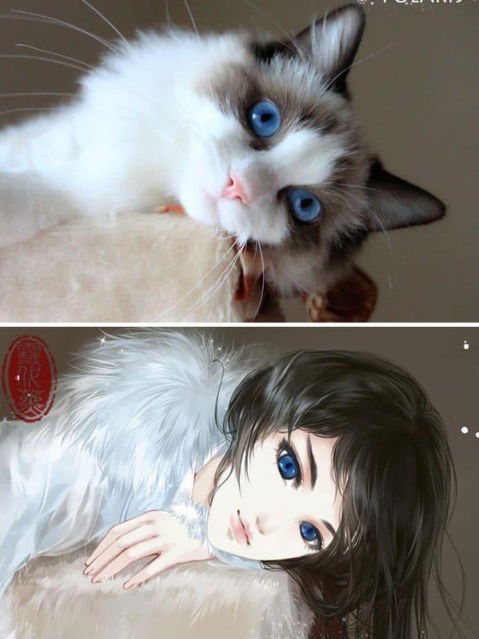 Кошка и девушка рис 6