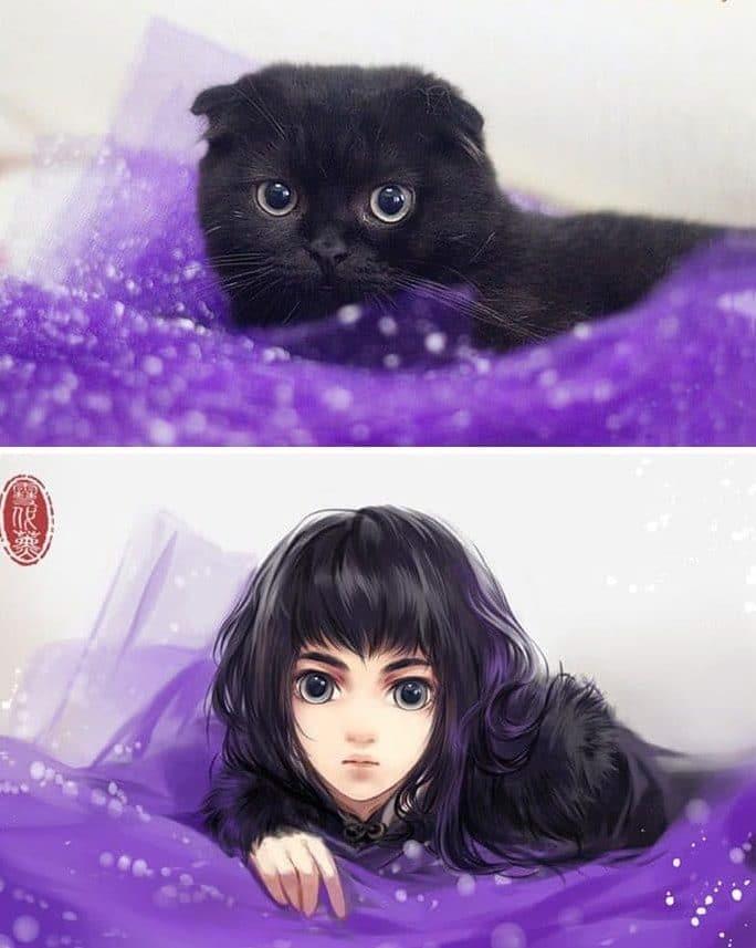 Кошка и девушка рис 5