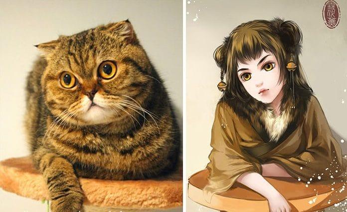 Кошка и девушка рис 4