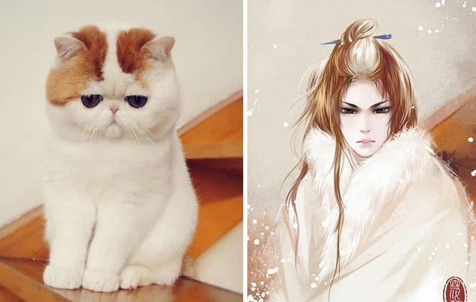 Кошка и девушка рис 2