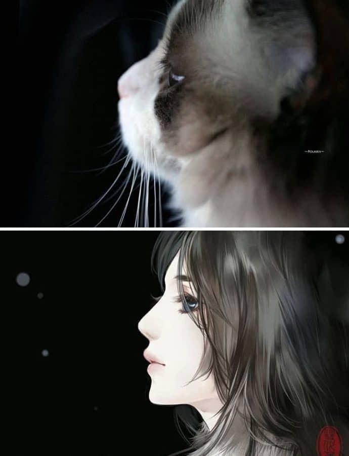 Кошка и девушка рис 3