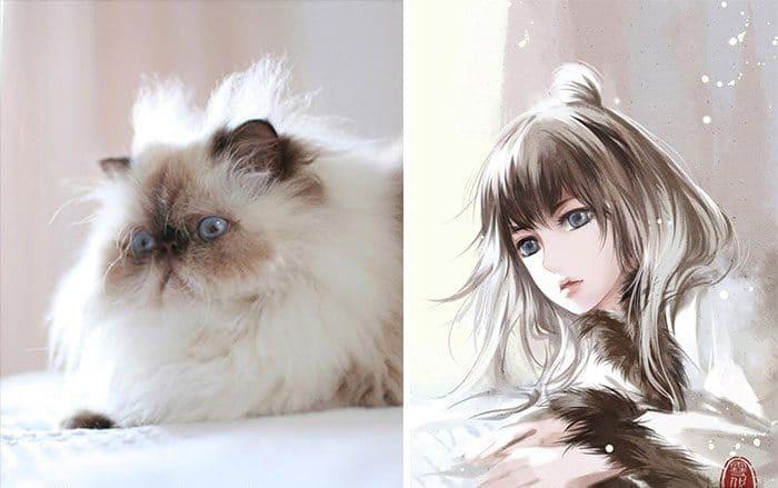 Кошка и девушка рис 7