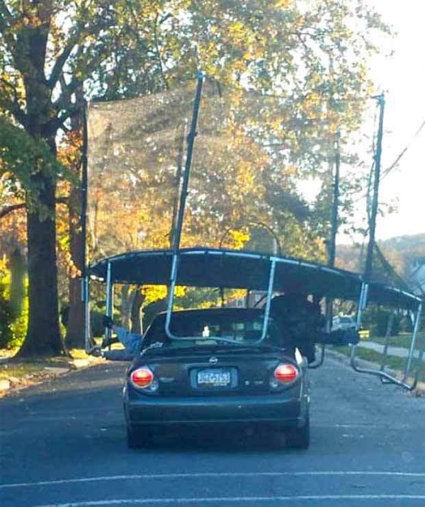 батут на крыше машины