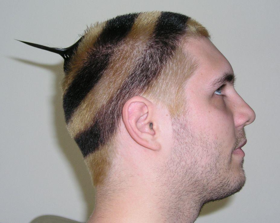 парень с желто-черными волосами