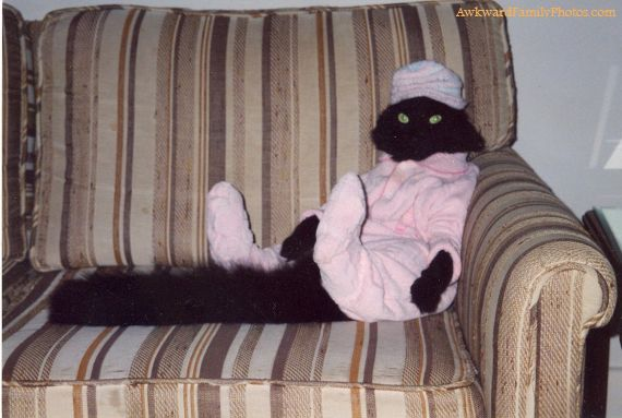 черная кошка в розовой пижаме