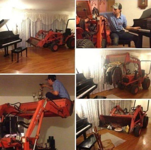 трактор в доме