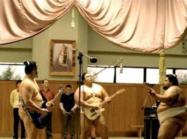 борцы сумо с гитарами