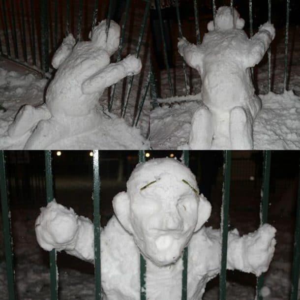 Снеговик в прутьях
