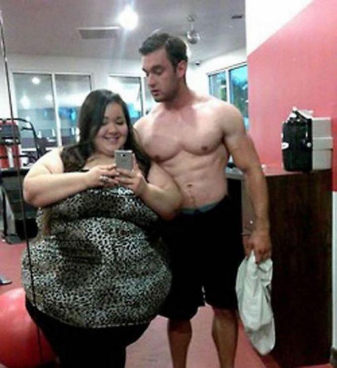 мускулистый парень и полная девушка